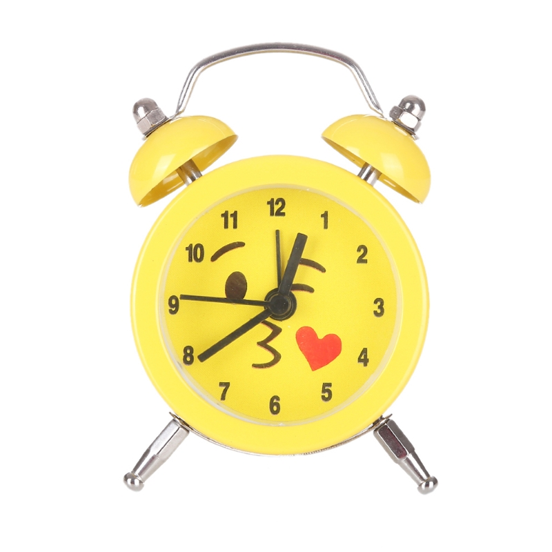 Lovely Expression Mini Round Battery Alarm Clock Desktop Table Bedside Clock Decor