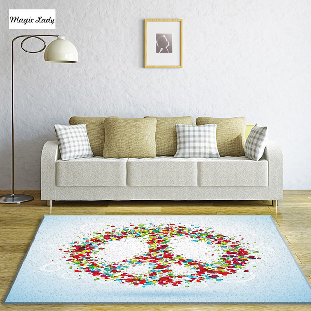 Carpet For Kids Peace Sign Hippie Happy Love Hearts Living Room