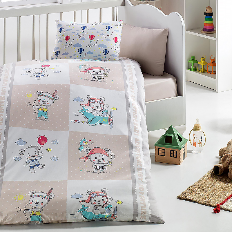 Lady Moda Hero Bear 4 Pcs Baby Bedding Set 100x150 Cm Crib Bedding Set 100% Cotton Cartoon Baby Bed Linen Set From Turkey