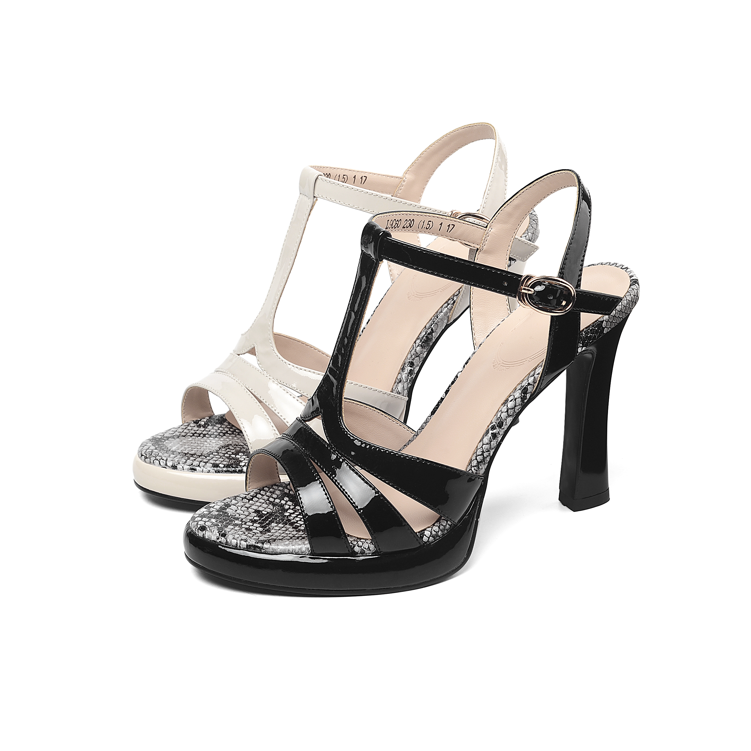 Women Summer Shoes Platform Sandals Jelly Leather High Heels Ankle Strap Sandals Black Beige 10cm in High Heels from Shoes