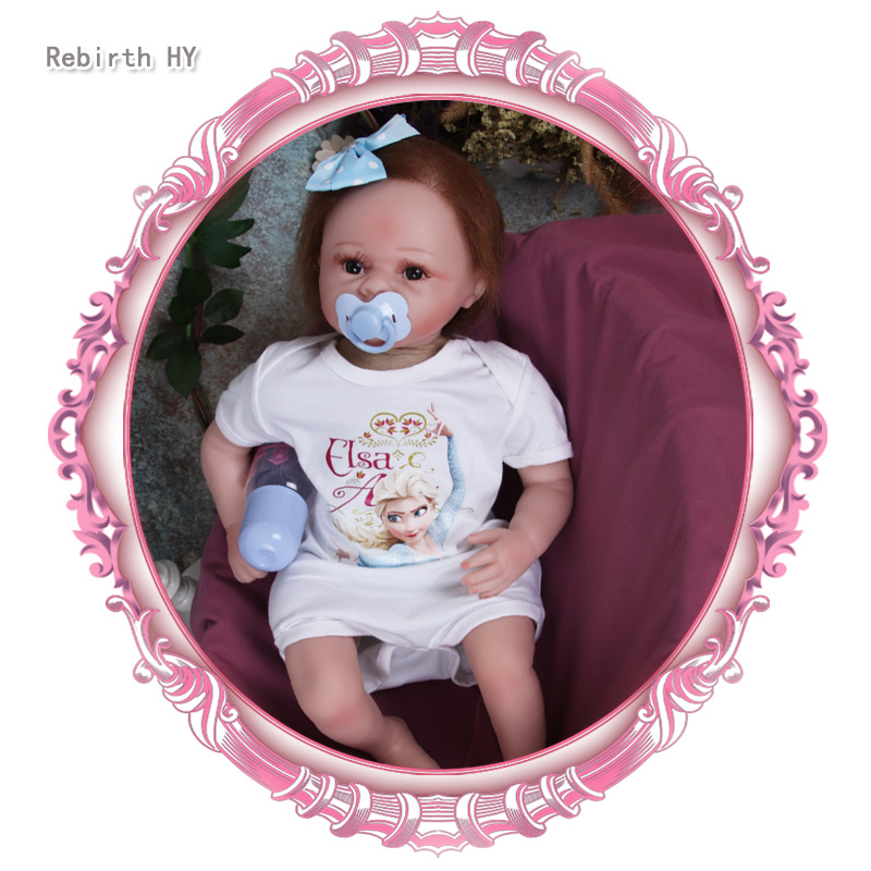 Rebirth HY New Arrival 55cm Reborn Babies Dolls Full Vinyl Toys For Girls Alive Bebe Reborn Baby Toys Doll For Play house Gift 2016 new 1pcs lot bedroom furnitures for barbie dolls monster hight dolls for baby girls play house toys girls baby t03022