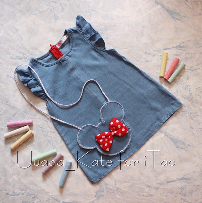 Джинсовое платье с сумочкой Микки Маус с Алиэкспресс