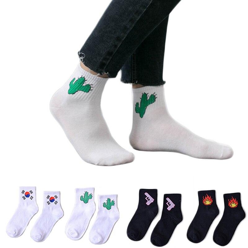 Cartoon Socks For Women Girl Cartoon Animal Fuit Dinosaur Socks White Color Elastic Absorbent Socks meias