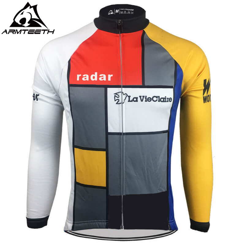 Hot Sale Retro La Vie Claire Long Sleeve Cycling Jersey Men MTB Shirts Breathable Bike Clothing Quick Dry Sport Tops