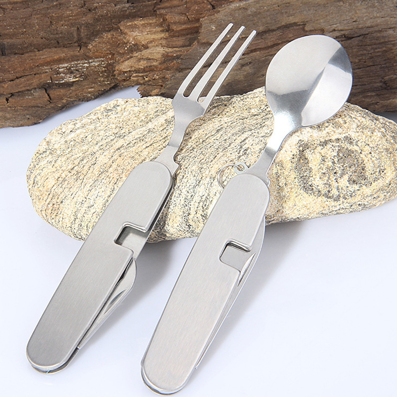 Camping Tableware Folding Knife and Fork Spoon Detachable Convenient Multipurpose Multifunction Knife 4Pcs/Set Stainless Steel