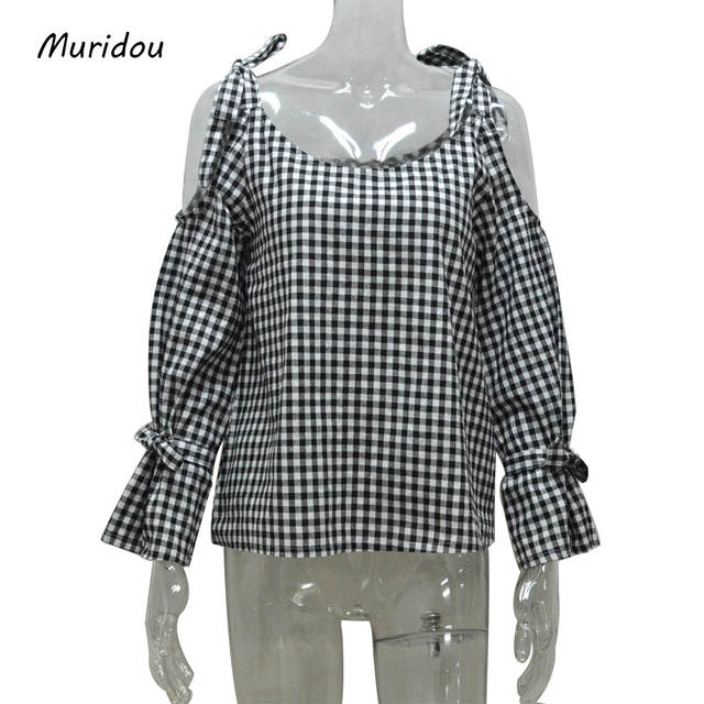 939dbde7691 Online Shop Muridou women cold shoulder checkered shirts Blouse plaid  Striped Shirt bow sleeve Tops Blusa Feminina summer autumn plus size