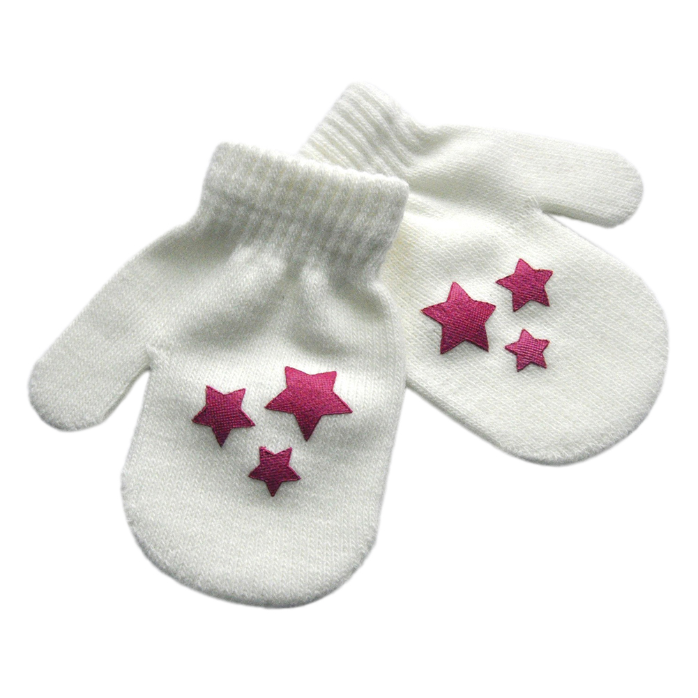Star Heart Pattern Fashion Gloves Boys Girls Winter Warm Knitted Mitten