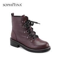 SOPHITINA Брендовые женские ботинки 2019; сезон весна; модная женская обувь на шнуровке, квадратный каблук, теплые мотоботы высокого Ботильоны из