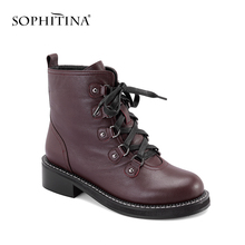 SOPHITINA Brand Woman Boots 2019 Spring Fashion Lace-up Square Heel Warm Motorcycle High Genuine Leather Ankle M8