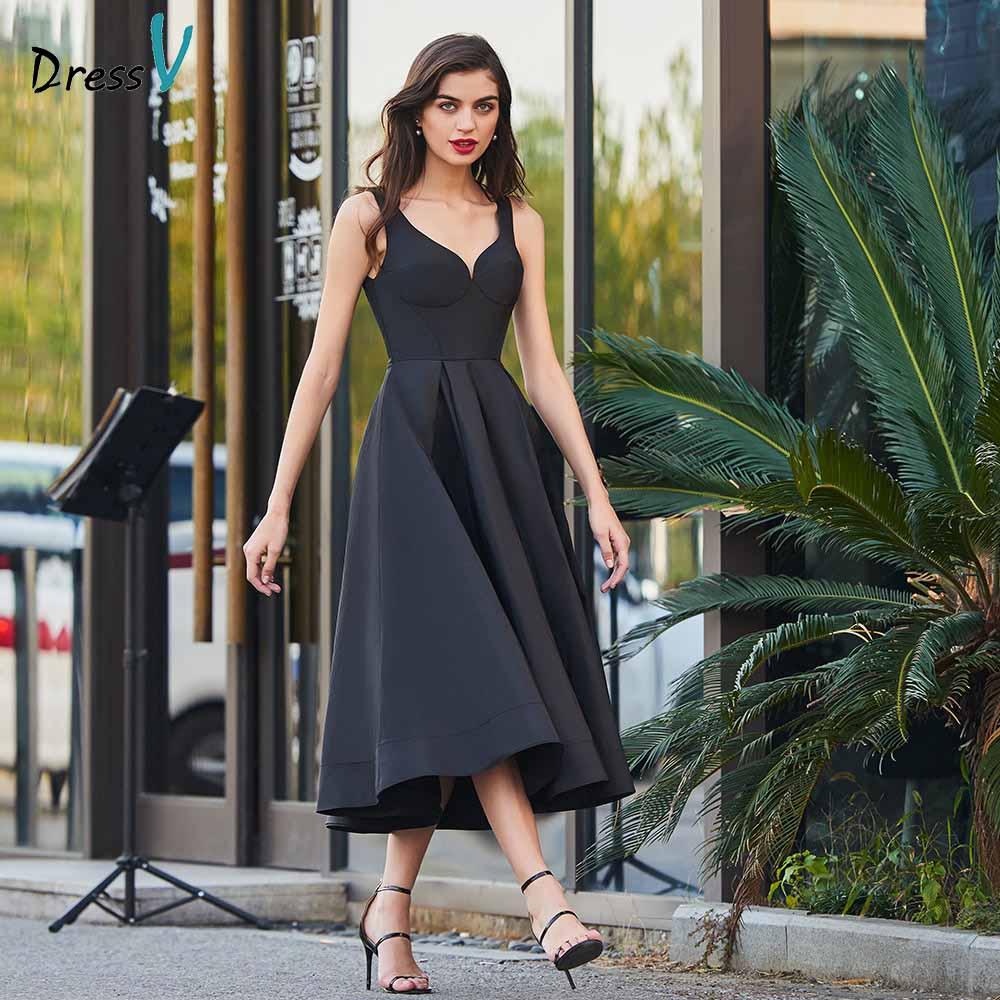 Dressv black a line cocktail dress elegant sweetheart neck tea length backless wedding party formal dress cocktail dresses