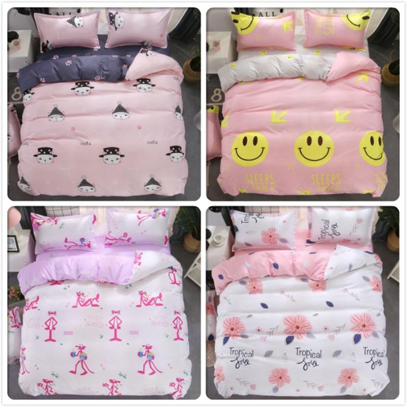 Top Quality Soft Comfortable Cotton Duvet Cover Sheet Pillowcase 3/4 Pcs Bedding Set Adult Kids Bed Linen Single Queen King Size