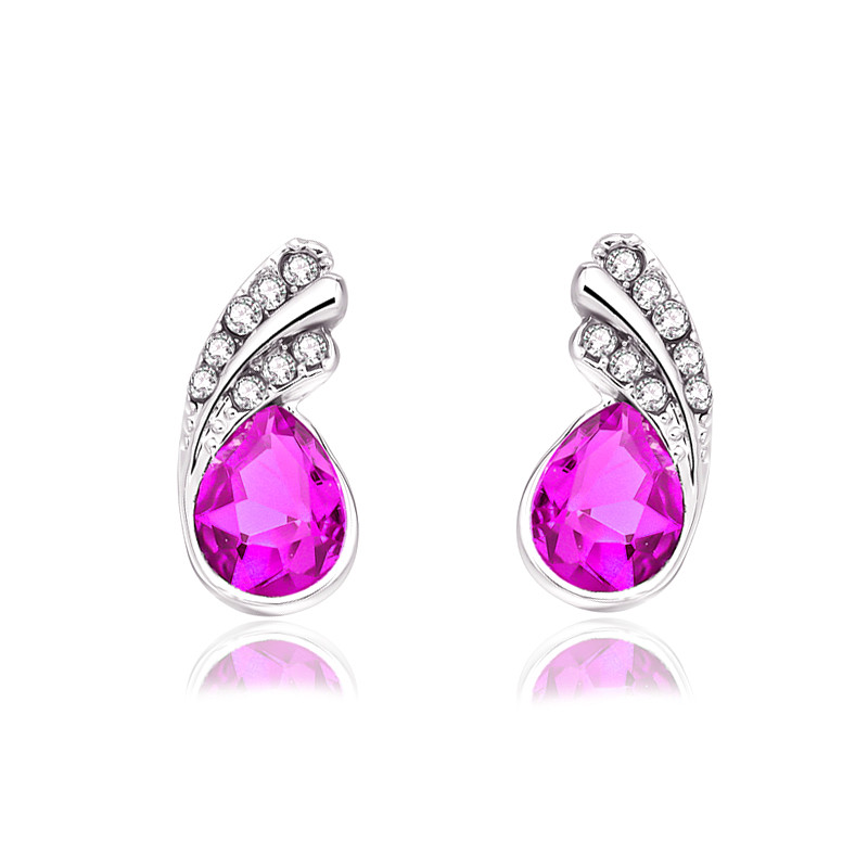 Crystal leaf stud Earrings 3