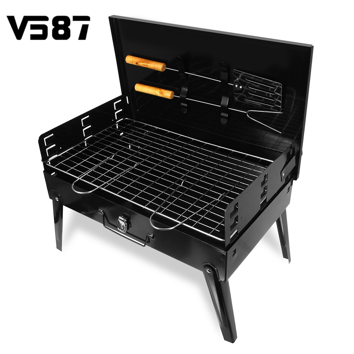portable bbq barbecue grill folding camping charcoal stove garden tools outdoor kitchen cooking. Black Bedroom Furniture Sets. Home Design Ideas