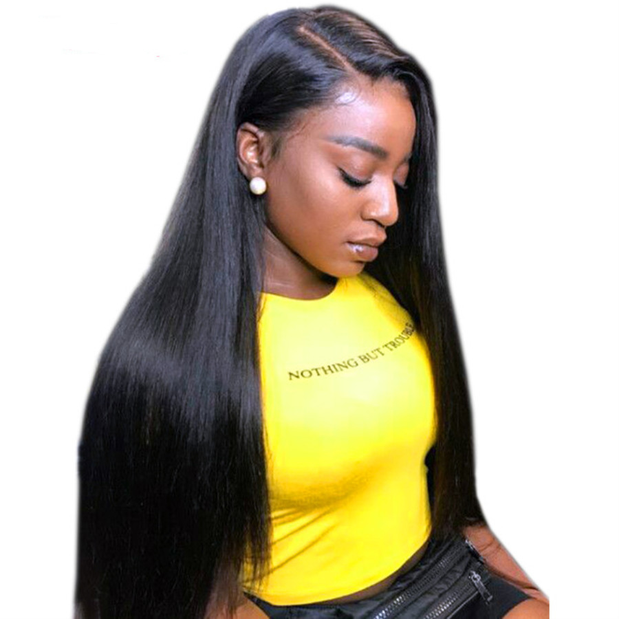 250 Density Full Straight Lace Front Wigs 13x6 Pre Plucked Lace Front Human Hair Wigs With Baby Hair Peruvian Remy Hair Alipop