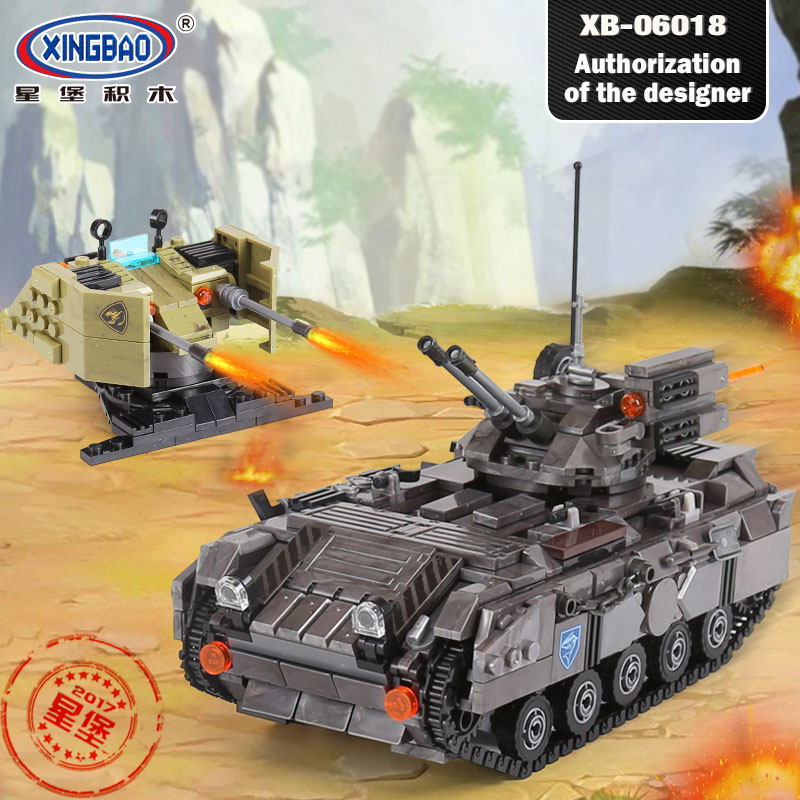 XINGBAO 06018 Military War Tank the Armoured Vehicle Set Compatible Legoinglys Model Technic Blocks Bricks Toys for Children new original rexroth runner block ball carriage r162221322 slider 100% test good quality