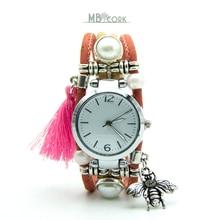 Natural cork handmade Bee watch with pink tassel original from Portugal women cork watch WA 102 B