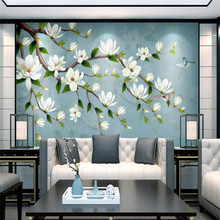 European style vintage hand-drawn flowers and birds blossom wall decoration painting custom wallpaper fresco