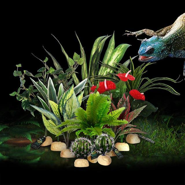 Reptile Plante Artificielle Resine Pour Tortue Lezard Realiste