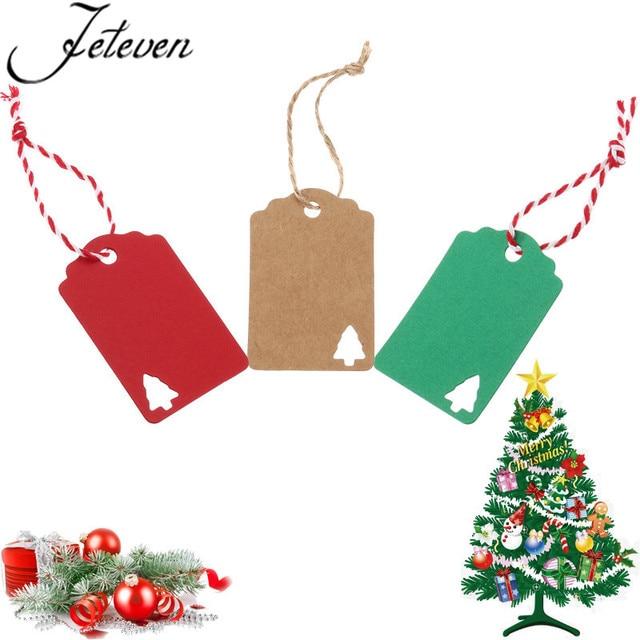 100pcs Kraft Paper Tags Christmas Card Gift Tags Hang Packaging
