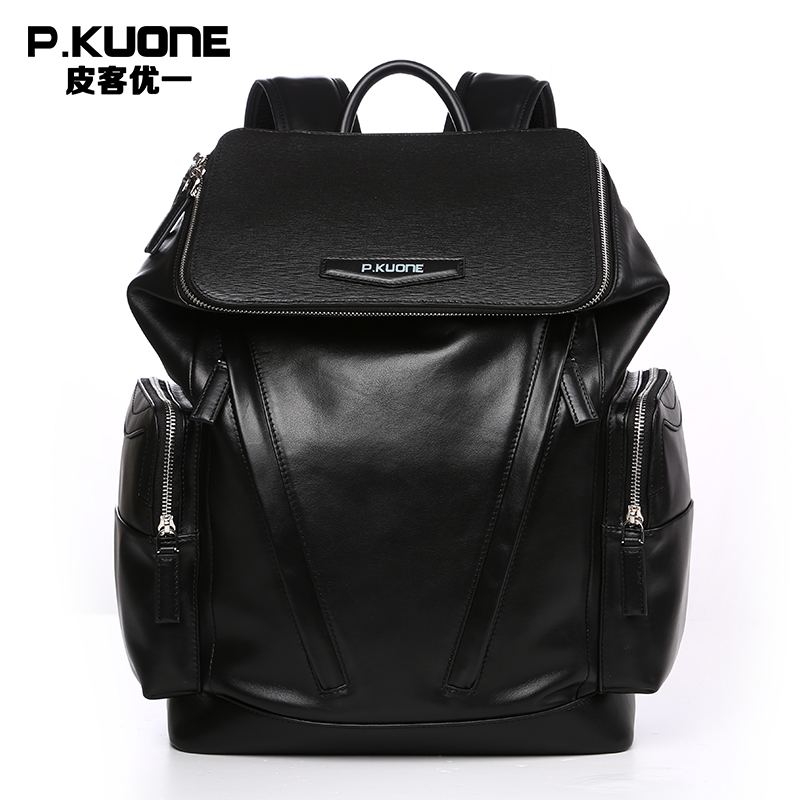 P.KUONE Fashion 2017 Genuine Cowhide Leather Backpack Men Black School Bags Male Luxury Famous Brand Shoulder Bag Men Travel Bag famous brand luxury men backpack genuine leather vintage mochila black men sport double shoulder bag men s backpacks bp00042