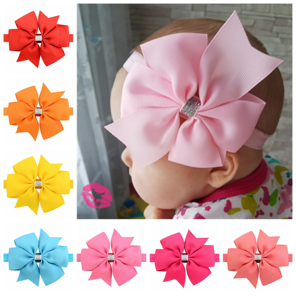 20 color new Baby hair bow flower Headband Silver ribbon Hair Band Handmade DIY hair accessories for children newborn toddler750