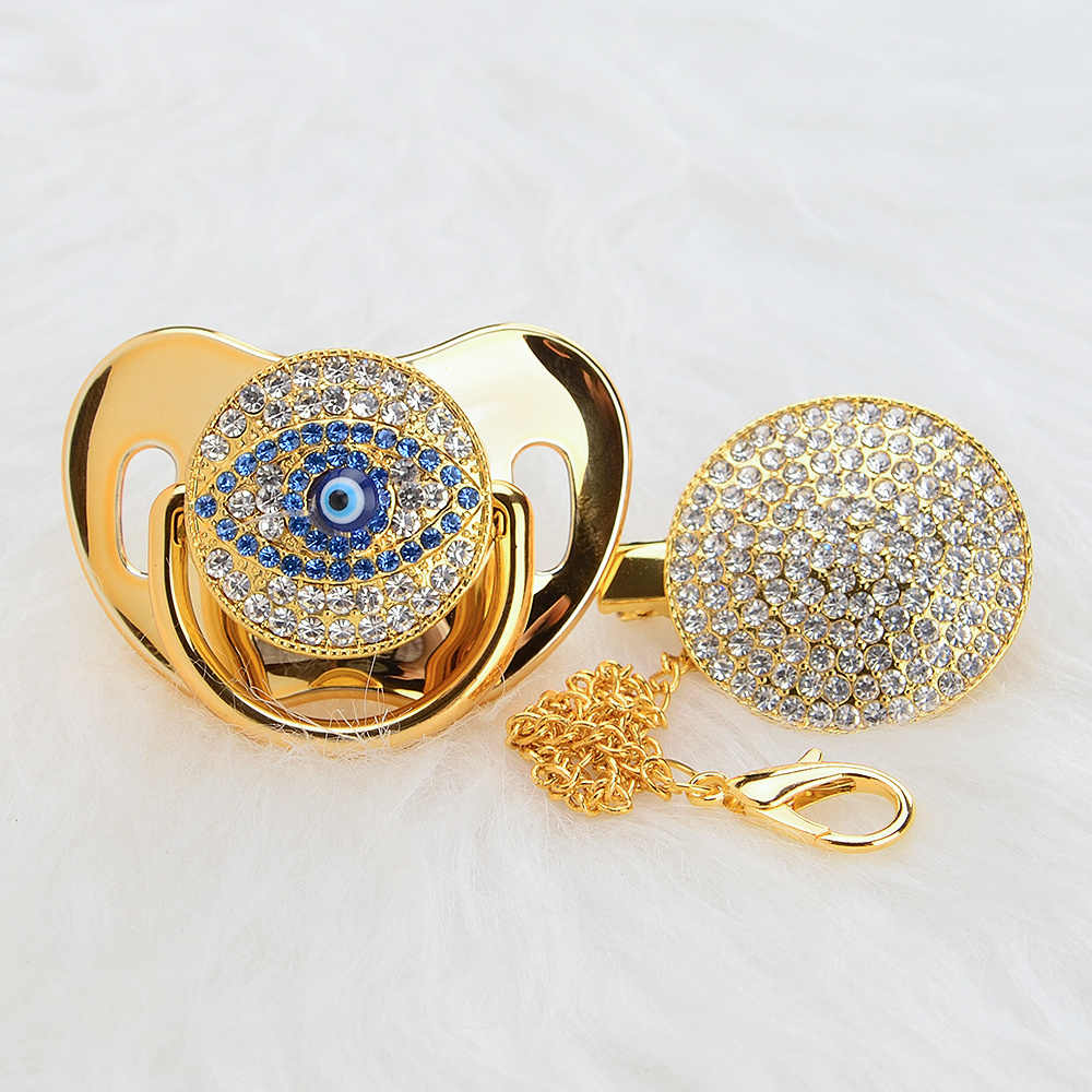 MIYOCAR BLING gold silver evil eye pacifier และ pacifier clip การออกแบบที่ไม่ซ้ำกันสำหรับทารก SGS certificate ปลอดภัยและ unique AEYE