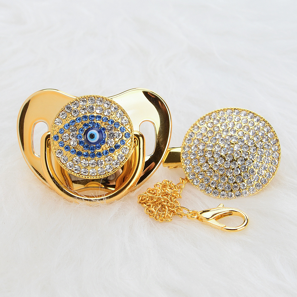 MIYOCAR BLING Gold Silver Evil Eye Pacifier And Pacifier Clip Unique Design For Baby SGS Certificate Safe And Unique  AEYE
