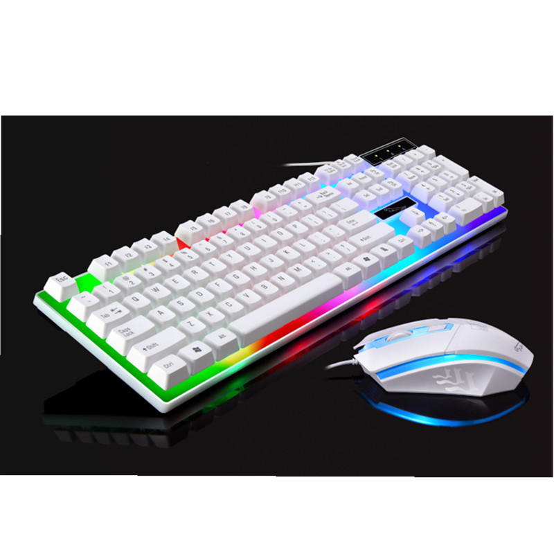 2018 new computer gaming keyboard mouse wired usb gamer keyboards 104 keys keyboard with mice. Black Bedroom Furniture Sets. Home Design Ideas