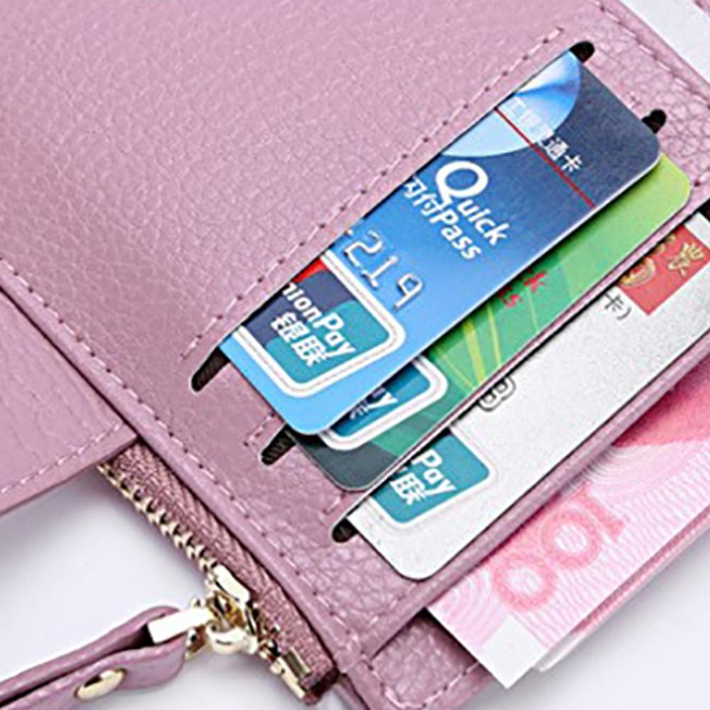 PinShang Womens Mini 100% Genuine Leather Bifold Wallet With ID Window Card Sleeve Anti RFID Clutch Coin Purse Best quality Z35
