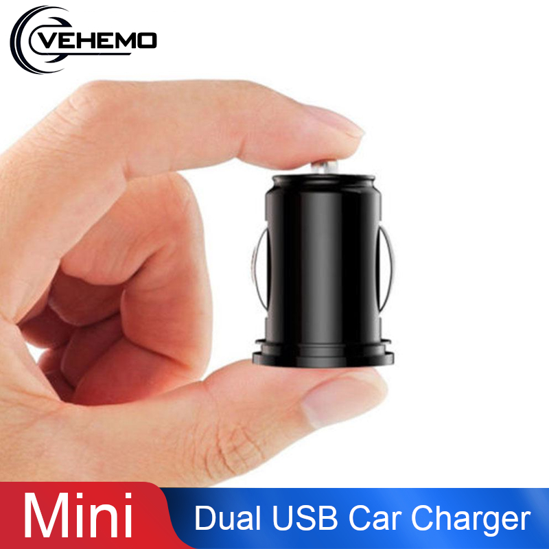 Vehemo Mini Dual USB Car Charger Pad Car Adapter Fast Charging Auto Phone Charge Automobile Cigarette Lighter Adaptive Voltage