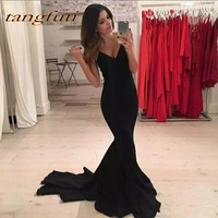 Black Mermaid Prom Dresses 2018 Sexy Spaghetti Straps V Neck Court Train Custom Made Formal Evening Celebrity Party Gowns
