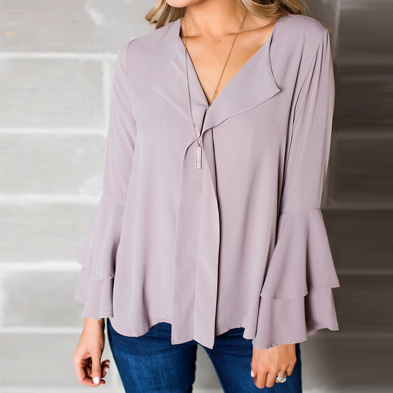 2018 ZANZEA Spring V Neck Long Flare Sleeve Solid Pleated Ruffles Loose Blouse Elegant Women Work Office Chiffon Shirt Top S-5XL