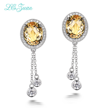 L&zuan 7.38ct Natural Citrine Gemstone Earring 925 Sterling Silver Trendy Fine Jewelry Earrings For Women Aretes Mujer E0066-W05