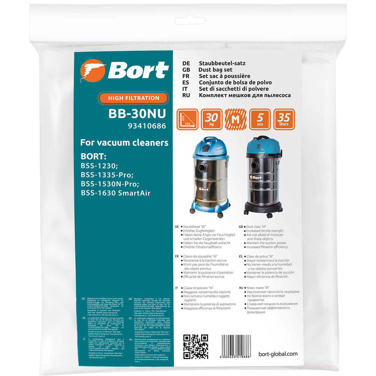 Kit bags пылесборных for vacuum cleaner Bort BB-30NU (5 pcs, volume 35L, BSS-1230; BSS-1335-Pro; BSS-1530N-Pro; BSS-1630S цена и фото