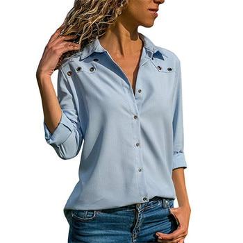 Women Tops Blouses 2019 Spring Elegant Long Sleeve Blouse Shirt Turn Down Collar Chiffon Blouse Office Shirts Blusas Camisa