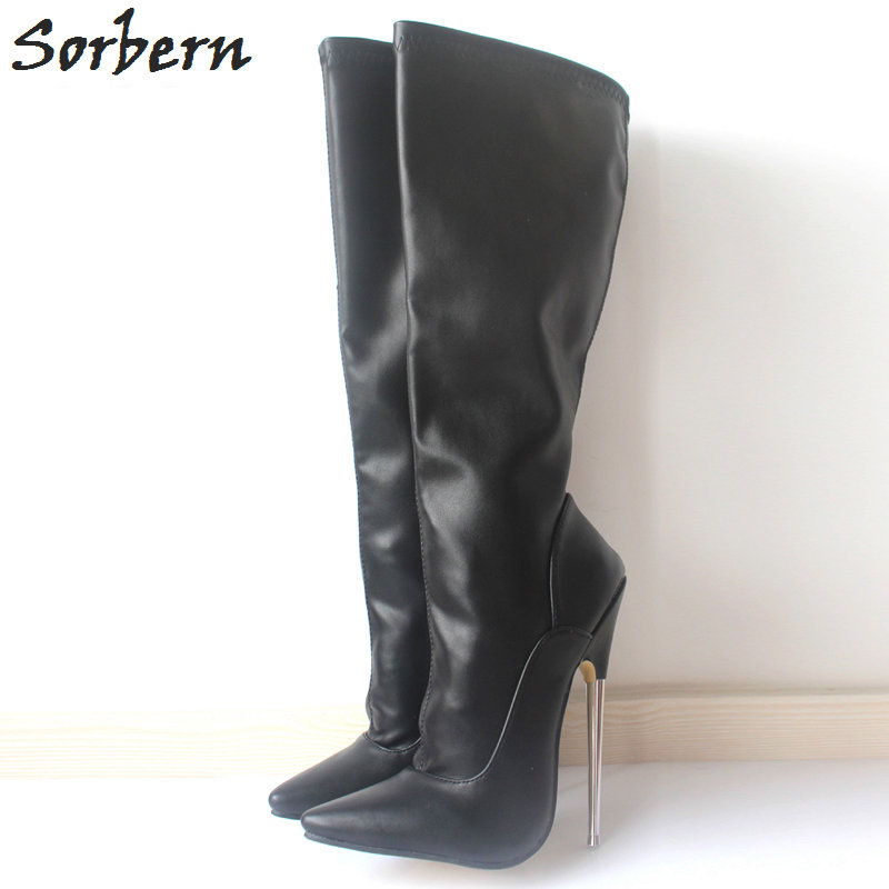 Sorbern 18CM Black Matte Women Knee Boots Metal Heels Plus Size Pointed Toe Custom Color Cosplay Long Boots