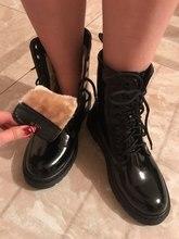 Botas Martin de cuero de gamuza zapatos de Mujer de invierno de felpa caliente tobillo corto bota alta motocicleta Botas de encaje nieve Botas Mujer