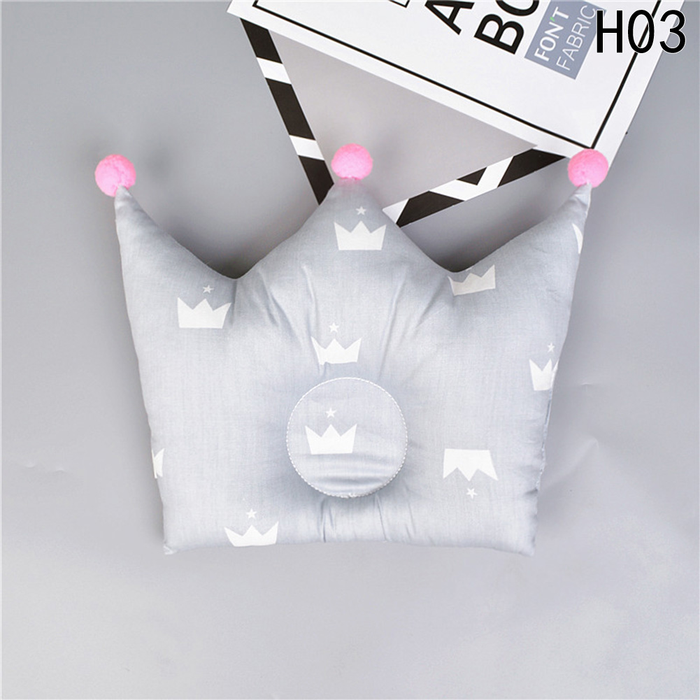 Cotton Baby Pillow Crown Infants Shaping Pillow Cartoon Toddler Newborn Positioner Anti Roll Cushion Flat Bebe Head Protection