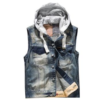 Men' Hooded Denim Vest Male Plus Size Casual Jeans Vest 2018 New High Quality Retro Sleeveless Denim Jacke