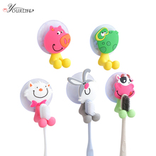 OYOURLIFE 2pc Bathroom Cartoon Toothbrush Holder Rack Wall Mount Suction Cup Storage Stand Accessories