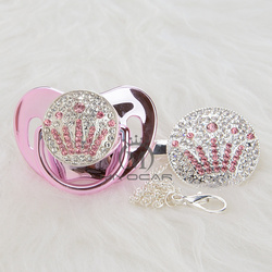 MIYOCAR BLING princess silver pink crown pacifier and pacifier clip colorful unique design SGS certificate safe APCG-3-11