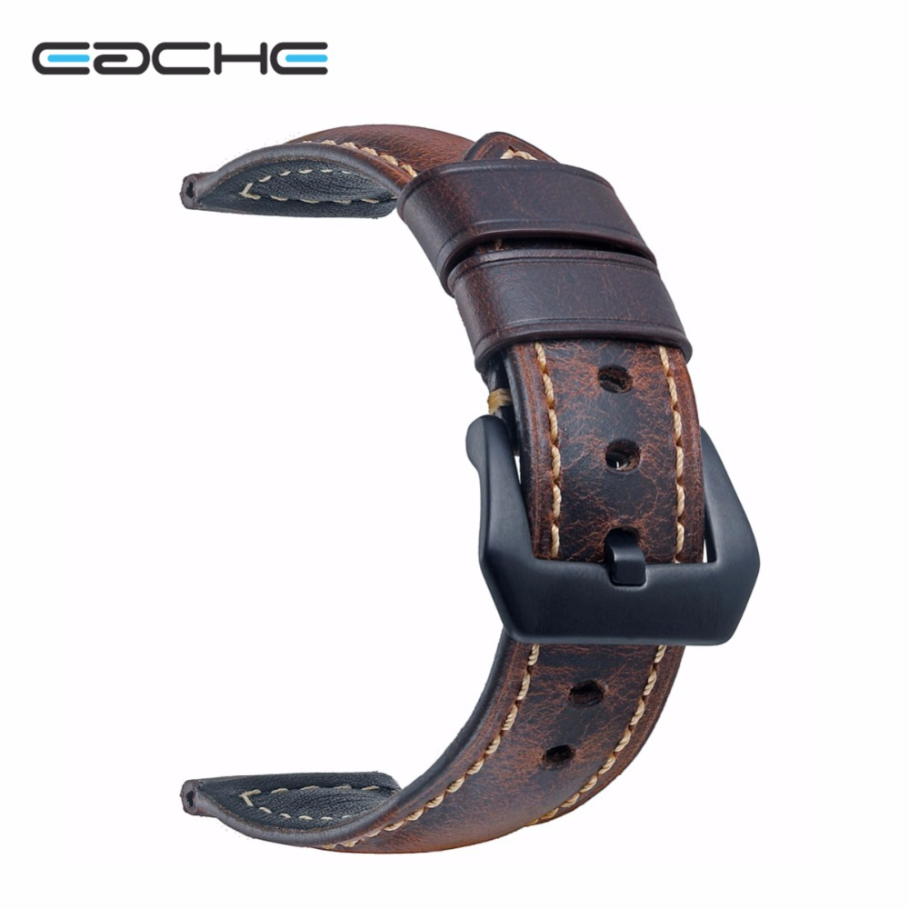 EACHE 20mm 22mm 24mm 26mmGenuine Leather Watch band dark brown light brown red black Classical Oil-tanned leather Watch Strap eache 20mm 22mm 24mm 26mm genuine leather watch band crazy horse leather strap for p watch hand made with black buckles