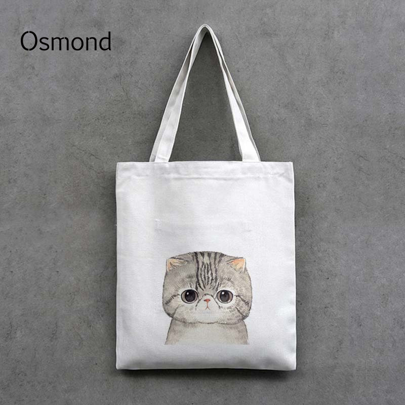 Cute Cat Printing Canvas Handbag Women Shoulder Bags Black White Shopping Bags Daily Use Casual Totes Cartoon Bag Zip