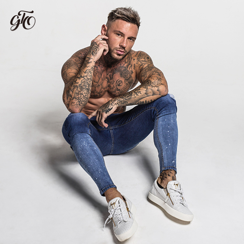 Dark Blue Ripped Jeans For Men  3