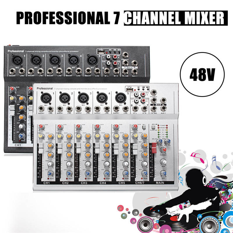 48V Mini Professional USB Mixing Console 7 Channel Live Studio Audio Mixer KTV Network Anchor Sound Card Sound Console Mixer professional 4 channel live mixing studio audio sound console network anchor portable mixing device vocal effect processor