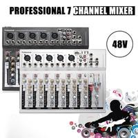 48V Mini Professional USB Mixing Console 7 Channel Live Studio Audio Mixer KTV Network Anchor Sound Card Sound Console Mixer