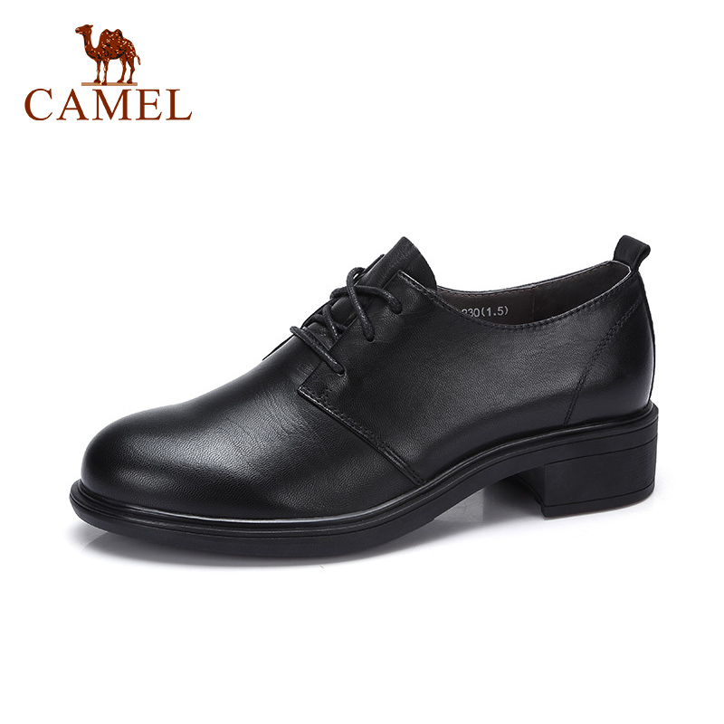 CAMEL New Women Single Shoes For Ladies Genuine Leather Med Heel Pumps Spring New Collect Retro