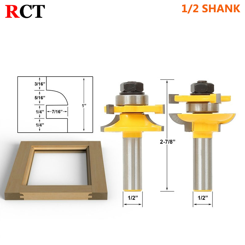 1/2 Shank Rail & Stile Router Bits-Matched 2 Bit Quarter-round door knife Woodworking cutter Tenon Cutter for Woodworking Tools high grade carbide alloy 1 2 shank 2 1 4 dia bottom cleaning router bit woodworking milling cutter for mdf wood 55mm mayitr