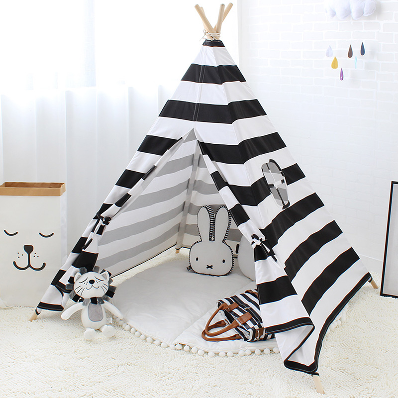 Stripe Children Play Tent Kids Indian Tipi White And Black Cotton Canvas Fabric Playhouse Indoor Teepee mrpomelo children indoor indian teepee play house solid blue garden game playhouse 100