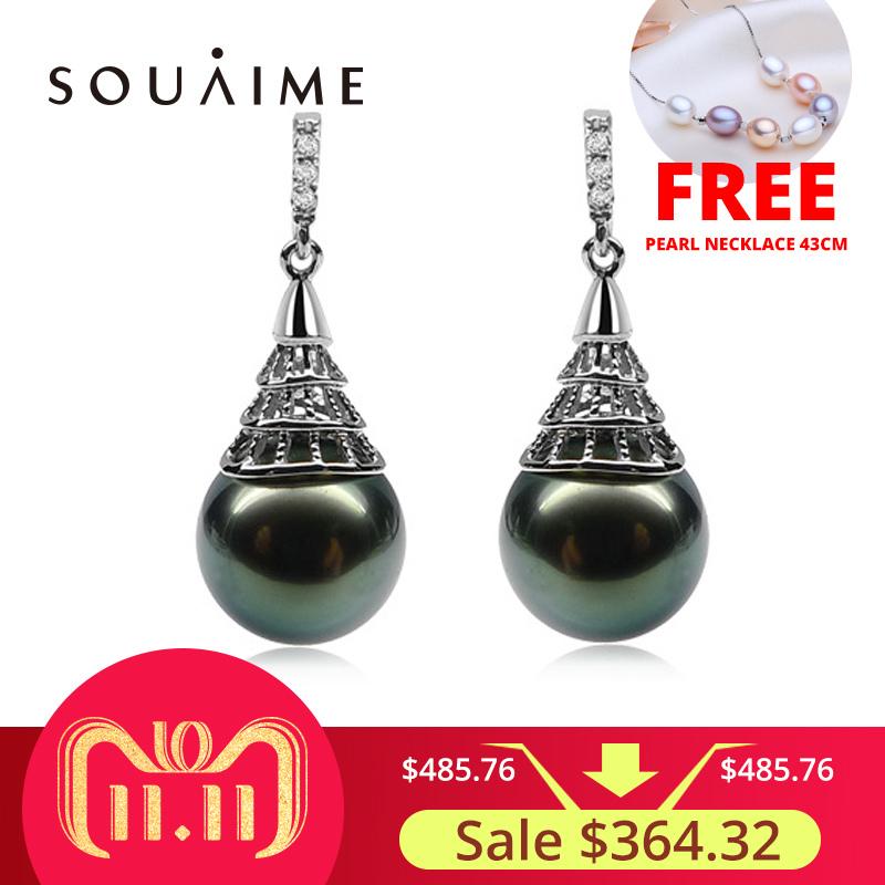 SOUAIME Natural Seawater Tahitian Black Pearl Earrings 925 Sterling Silver Fashion Jewelry Classic For Women Wedding Jewelry 925 silver real natural big 925 sterling silver large circle of natural seawater pearl oyster jewelry bag mail to send his girlf